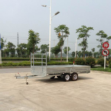 Flat low bed trailer for machinery transport
